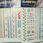 Colorful Golden Flash Tattoos 6 Asst Styles Per Pack (261) .65 ea sheet