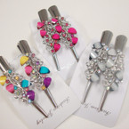 """2 Pack 3"""" Metal Salon Hair Clips w/ Colored Stones (5801) .54 per set"""