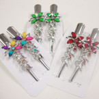 """2 Pack 3"""" Metal Salon Hair Clips w/ Colored Stones (4294) .54 per set"""