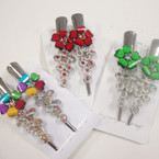 """2 Pack 3"""" Metal Salon Hair Clips w/ Colored Stones (4291) .54 per set"""