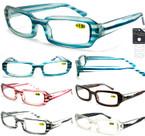 Ladies Plastic Fashion Stripped Reading Glasses Asst Colors .66 ea