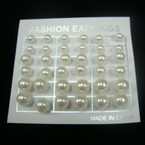 18 Pair Pack Ivory Color Pearl Stud Earrings .54 ea set