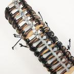 Teen Leather Bracelet w/ 2 Style Silver Crosses .54 ea