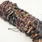 "Teen Leather Bracelet w/ Imitation  1.5"" Tooth .54 ea"