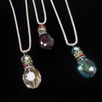 "18"" Fancy Silver Chain Necklace w/ 1.5"" Crystal Pendant .58ea"