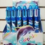"6"" 6 Color Dolphin Theme Fun Pens 36 per display .40 ea"