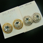 Elegant Round Gold & Silver Button Earring w/ Clear Stones & Crystals .50 ea