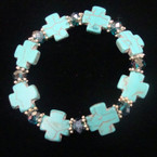Turquoise Stone Cross Stretch Bracelet w/ Crystal Bead .50 ea