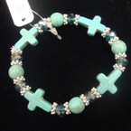 Turquoise Stone Cross & Rd. Bead Stretch Bracelet w/ Crystal Bead .50 ea