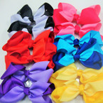 "6"" Two Tone Style Mixed Color Gro Grain Gator Clip Bow .54 ea"
