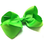 "6"" Light Green Color Gro Grain Gator Clip Bow .50 ea"