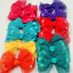 "5"" Asst Color Gator Clip Bow w/ lace & Star Print Fabric .50 ea"