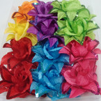 "6"" Lg. Flower Bow w/ Sequin Edge  Brights Asst 3 in 1 Use .54 ea"