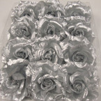 "4"" Silver Foil Flower Bow 3 in 1 Use 12 per bx  .50 ea"