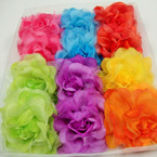 "4"" Silk & Chiffon Fabric Flower Bow 3 in 1 Use Bright Colors 12 per bx  .50 ea"