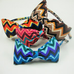 "Asst Color Thin Headband w/ 4"" Chevron Print Bow .54 ea"