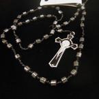 "32"" Tube Bead Hematite Rosary w/ Silver/Blk Cross w/ JESUS .54 ea"