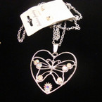 "24"" Silver Chain Neck Set w/ Crystal Stone Butterfly/Heart Pendant .50 ea"