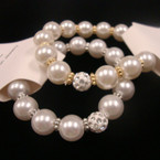 Elegant Pearl Bracelet w/ Gold/Silver Spacer Crystal Stone Bead .50 ea