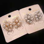 Elegant Crystal Stone & White Pearl Earring .50 ea