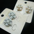 Petite Elegant Pearl & Crystal Stone Cluster Earring .50 ea