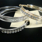 "2.5"" Gold & Silver Hoop Earrings w/ Clear Crystals .50 ea"