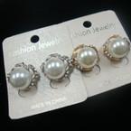 Classy Petite Gold/Sil Pearl & Crytsal Stone Earrings .50 ea