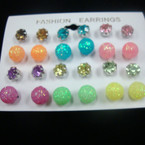 12 Pair Crystal Stone & Frosted Ball Earrings Lite Colors .50 per set