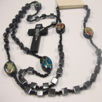 "38"" Square Bead Hematite Rosary w/ Wood Cross w. JESUS .54 ea"