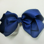 "Big Size 6"" All Navy Blue Color Gator Clip Bows ONLY .45 ea"