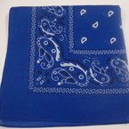 "Royal Blue Bandana 100% Cotton 22"" Square .50 ea"