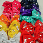 "5"" Mixed Color Gator Clip Bows w/ Silver Foil Heart Patterns .54 ea"