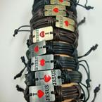 Teen Leather Bracelet I Love JESUS Square Plaque Gold/Sil .52 ea