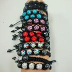 Macrame Bracelet w/ Hematite & Fire Ball Crystal Stone Beads .54 ea