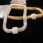 Gold & Silver Magnetic Mesh Bracelet w/ Crystal Stone Bead .52 ea