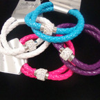 Mixed Color Braided  Magnetic  Bracelet w/ Crystal Stone Bead .52 ea