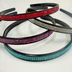 Black Fashion Headband w/ Triple Line of Stones Mixed Colors .50 ea