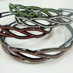 Flex Black Fashion Headband w/ Loads of Asst Color Rhinestones .52 ea