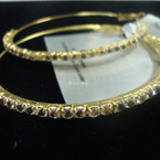 "2.75"" Gold Fashion Hoop Earring w/ Clear Crystal Stones .50 ea"