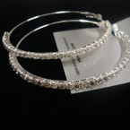 "2.75"" Silver Fashion Hoop Earring w/ Clear Crystal Stones .50 ea"
