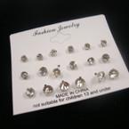 9 Pair All Clear Brillant Crystal Stone Earrings .50 per set