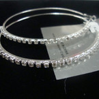 "3"" Silver Fashion Hoop Earring w/ Clear Crystal Stones .50 ea"
