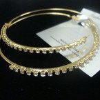 "3"" Gold Fashion Hoop Earring w/ Clear Crystal Stones .50 ea"
