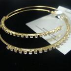 "3"" Gold Fashion Hoop Earring w/ Clear Crystal Stones .50 ea"