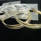 """2.25"""" Gold & Silver fashion Hoop Earrings w/ Silver Glitter .50 ea"""