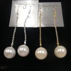 "3"" Gold/Silver Rhinestone Earring w/ Pearl Ball Drop .50 ea"