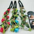 Popular Bright Color Flower Headband w/Braid Cord Elastic Back .52 ea