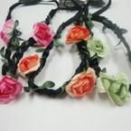 Popular Bright Color Flower Headband w/Braid Cord Elastic Back (8004) .52 ea