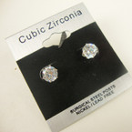 6MM Clear Stone Cubic Zirconia Silver Prong Earrings .54 ea