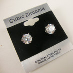7MM Clear Stone Cubic Zirconia Silver Prong Earrings .55 ea